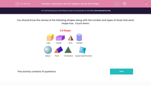 'Geometry and 3D Shapes: Name the Shape' worksheet