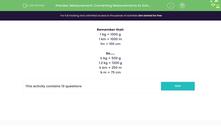 'Measurement: Converting Measurements to Solve Problems' worksheet