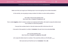 'Substitute Numbers for Letters in Complex Calculations (All Four Operations)' worksheet