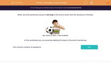 'Punctuation: Using Full Stops 1' worksheet