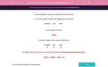 'Hundreds, Tens and Ones: Breaking Down Numbers (2)' worksheet