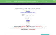 'The Distributive Law in Subtraction (Numbers <100)' worksheet