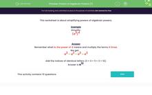 'Powers of Algebraic Powers (1)' worksheet