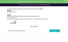 'Dividing a Decimal Number by a Two-Digit Number' worksheet