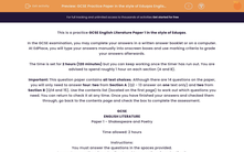 'GCSE Practice Paper in the style of Eduqas English Literature Paper 1' worksheet