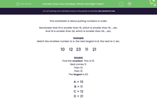 'Know Your Numbers: What's the Right Order?' worksheet