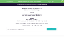 'Counting Cash: Solving Money Problems' worksheet