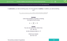 'Addition and Subtraction: Find the Missing Number (2)' worksheet