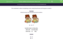 'Addition and Subtraction: What's Left?' worksheet