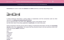 'Understand Adding and Emphasising Connectives' worksheet