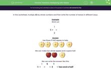 'Fractions: Multiplying with Halves' worksheet