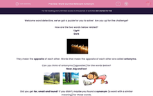 'Work Out the Relevant Antonym' worksheet