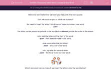 'Choose the Letter Which Creates a New Word ' worksheet