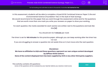 'AQA GCSE Combined Science Synergy. Paper 2 Life and Environmental Sciences. Foundation Tier' worksheet