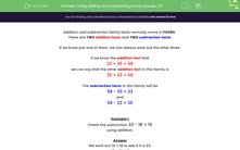 'Using Adding and Subtracting Family Groups (2)' worksheet