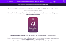 'Understand Relative Atomic Mass and Relative Formula Mass' worksheet