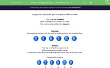 'Arranging Numbers in Ascending Order (3)' worksheet