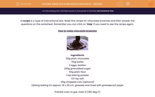 'Read and Understand Instructions - Recipes' worksheet