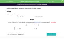 'Finding a Fraction of a Number' worksheet