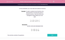'Add and Subtract Simple Fractions' worksheet