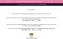 'Create a new word using letter position patterns' worksheet