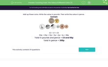 'Counting Cash: The Value of Different Coins (1)' worksheet