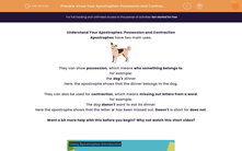 'Know Your Apostrophes: Possession and Contraction' worksheet