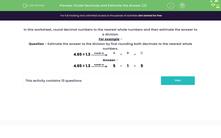 'Divide Decimals and Estimate the Answer (2)' worksheet