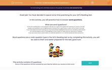 'Understanding Word Questions 1 ' worksheet