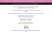 'Identify Combinations of Letters Which Create New Words' worksheet