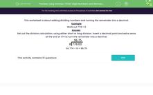 'Long Division: Three-Digit Numbers and Remainders' worksheet