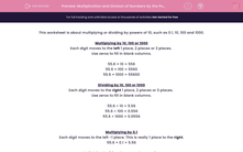 'Multiplication and Division of Numbers by the Powers of 10 (0.1 - 1000)' worksheet