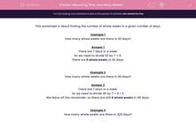 'Measuring Time: How Many Weeks?' worksheet