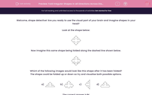 'Fold Irregular Shapes in all Directions Across Diagonal Fold Lines' worksheet