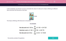 'Percentages: What's the Discount and Final Price?' worksheet