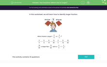 'Two Fractions: Which One is Larger?' worksheet