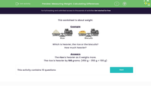 'Measuring Weight: Calculating Differences' worksheet