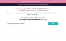 'Lowest Common Multiples (1)' worksheet