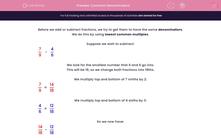 'Common Denominators' worksheet