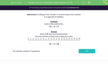 'Know Your Subtraction: Subtracting two (0-20)' worksheet