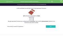 'Fractions: Identify Equivalents' worksheet