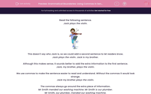'Grammatical Boundaries: Using Commas in Sentences' worksheet