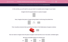 'Find the Correct Image with Two Punches and a Diagonal Fold' worksheet