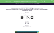 'Working Out Missing Numbers: What's the Value (0-12)?' worksheet